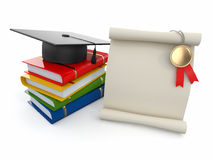 Graduation. Mortarboard, diploma and books. Royalty Free Stock Photo