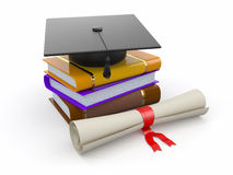 Graduation. Mortarboard, diploma and books. 3d Stock Images