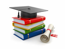 Graduation. Mortarboard, diploma and books. 3d. Graduation. Mortarboard, diploma and books on white background. 3d Royalty Free Stock Photography