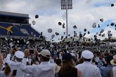 Graduation 2017/ Navy Hat Toss Royalty Free Stock Photography