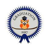 Graduation with an owl and on an award seal. And text Graduation 2017 Royalty Free Stock Photo