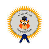 Graduation with an owl and on an award seal. An text Class of  2017 Congratulations Royalty Free Stock Photography