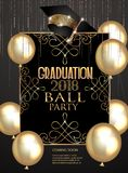 Graduation party elegant banner with golden design elements and air balloons. Vector illustration vector illustration