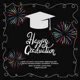 Graduation party invitation card with colorful fireworks. Graduation party invitation card. Vector template with colorful fireworks Stock Image