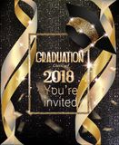 Graduation party invitation card with golden ribbons and background with circle pattern. Vector illustration Stock Illustration
