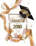 Graduation 2018 party invitation card with hat and long gold silk ribbon and confetti. Vector illustration Stock Photos