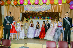 Graduation party in a rural school in Kaluga region of Russia. Stock Photography