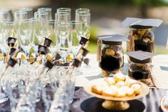 Glasses on a table royalty free stock photography