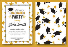 Graduation party vector template invitation. To the traditional ceremony, college, university or high school student party, graduation caps thrown in the air Stock Image