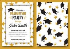 Graduation party vector template invitation Stock Image