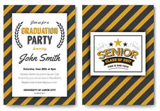 Graduation party vector template invitation Royalty Free Stock Photography