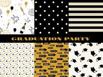 Graduation pattern collection. Black and golden vector background for graduation party or ceremony invitation, greeting. Card or web page and poster design stock illustration