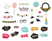 Graduation photo booth elemnts and party props-vector. Illustration stock illustration
