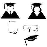 Graduation Pictograms. Black and white graduation symbols of male and female wearing cap and robe and rolled and unrolled diploma certificates vector illustration