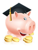 Graduation Piggy bank. Cartoon education piggy bank with mortar board graduation hat on and gold coins. Concept for saving money for an education or schooling or Stock Photo