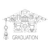 Graduation Postcard Vector Concept Royalty Free Stock Images