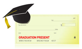Graduation present and graduation hat Royalty Free Stock Images