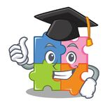 Graduation puzzle character cartoon style Stock Photo