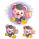 Graduation related event Mouse Mascot. Education and life Charac Royalty Free Stock Photos