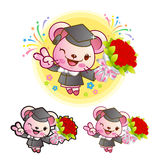 Graduation related event Pink Mouse Mascot. Education Character Stock Images