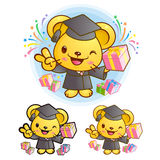 Graduation related event Yellow Mouse Mascot. Education Characte Stock Photography