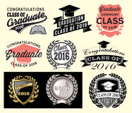 Graduation sector set Class of 2016 Congrats grad Congratulations Graduate Royalty Free Stock Photo