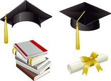 Graduation. Set of Isolated Mortar Boards, books and Diploma Royalty Free Stock Images