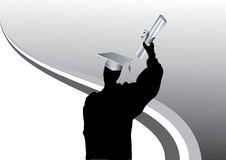 Graduation in silhouette royalty free illustration