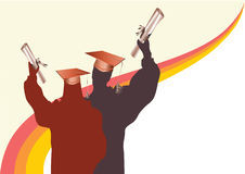 Graduation in silhouette vector vector eps. Graduation in silhouette with mortar and certificate.vector eps Stock Photos