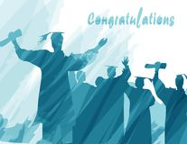 Graduation in silhouette in water color painting Royalty Free Stock Images