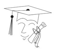 Graduation. Simple illustration of a graduate wearing a mortor board with a diploma Royalty Free Stock Photography