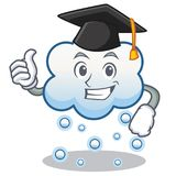 Graduation snow cloud character cartoon Royalty Free Stock Image