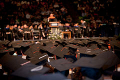 Graduation Speech. A speaker giving a graduation speech at a  university commencement ceremony Royalty Free Stock Images