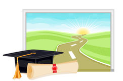 Graduation start to a bright future. Graduation day is the start to a new bright future. With copy space for your text. Vector illustration saved as EPS AI8 also Royalty Free Stock Photos