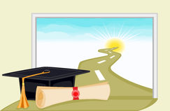 Graduation - start to bright future. Celebrating graduation day and the start to a bright new future. Vector file saved as EPS AI8 also available Royalty Free Stock Photo