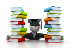 Graduation student and books. 3d illustration of Graduation student and books Royalty Free Stock Photos