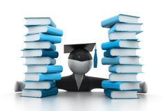 Graduation student and books. 3d illustration of Graduation student and books Royalty Free Stock Photography