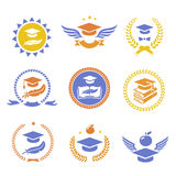 Graduation student cap sign labels. Education symbol. Royalty Free Stock Image