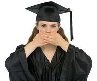 Graduation student girl making speak no evil Stock Images