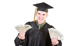 Graduation: Student Holding Up Money Fan Stock Photos