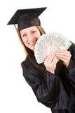 Graduation: Student Holding Up Money Fan Royalty Free Stock Photos