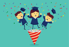Graduation student out of party popper. Graduation student and ribbon exploding out of party popper Stock Images