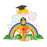 Graduation Student Standing On Golden Trophy Represent To Success Education Concept. Vector Illustration Royalty Free Stock Photography