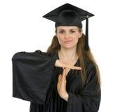 Graduation student woman showing break gesture Royalty Free Stock Photos