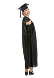 Graduation student woman showing thumbs up Stock Photo