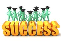 Graduation Success. An illustration of cartoon men with graduation hats behind a gold success lettering Royalty Free Stock Images