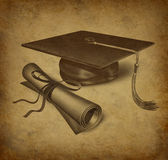 Graduation symbol. Graduation hat and diploma with vintage grunge texture representing the education concept of acheivement and academic success in university Royalty Free Stock Photos