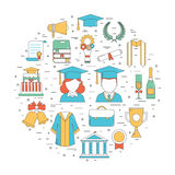 Graduation Thin Line Vector Icons Royalty Free Stock Image