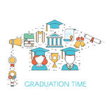 Graduation Time Lineart Concept Royalty Free Stock Images