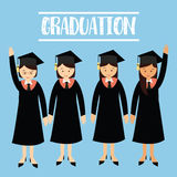 Graduation university student girls wear cap hat Stock Photo